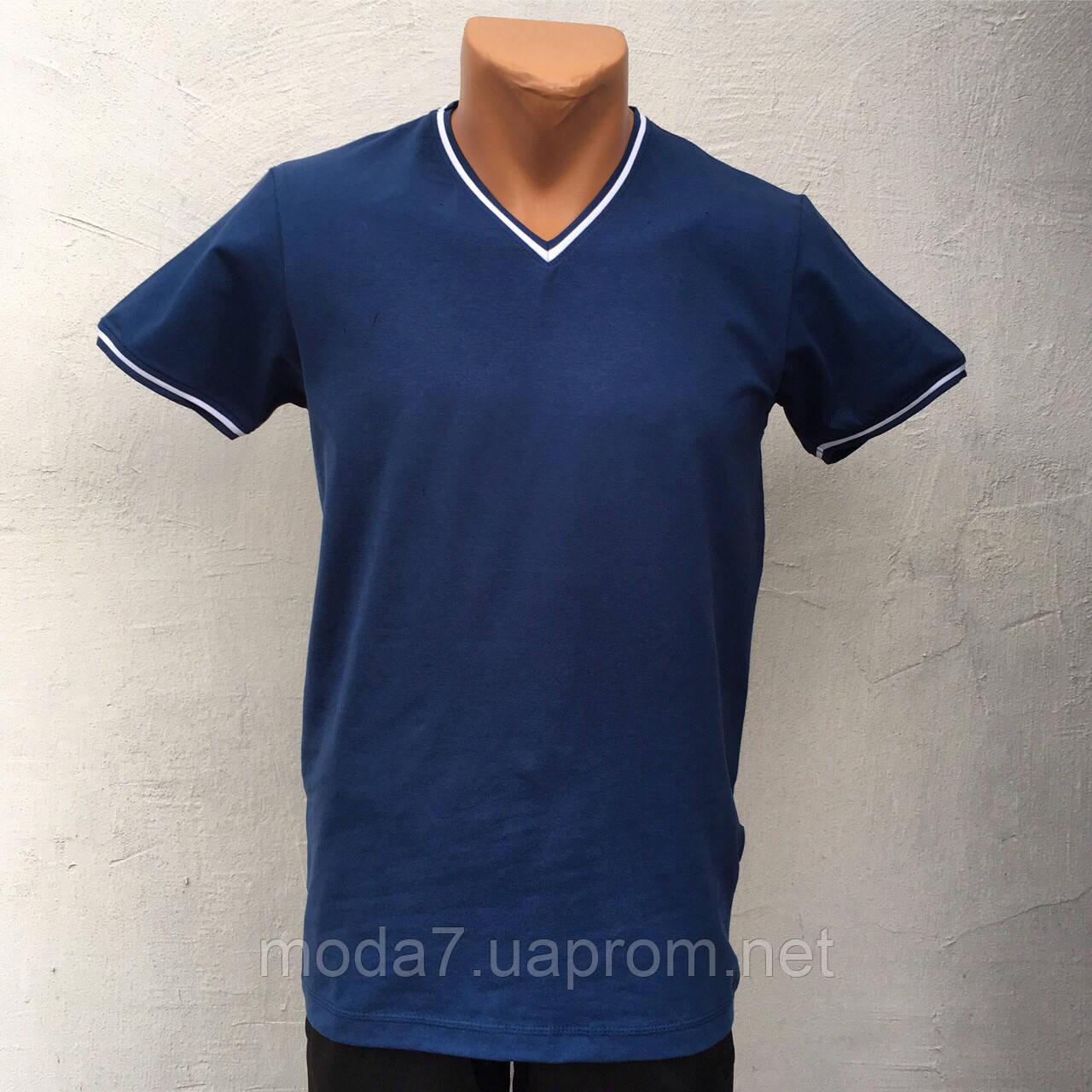 Футболка мужская синяя однотонная VM