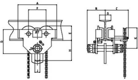 Подвижная каретка для тали JET 1,0 GT-9м балки 82-203мм,, фото 2