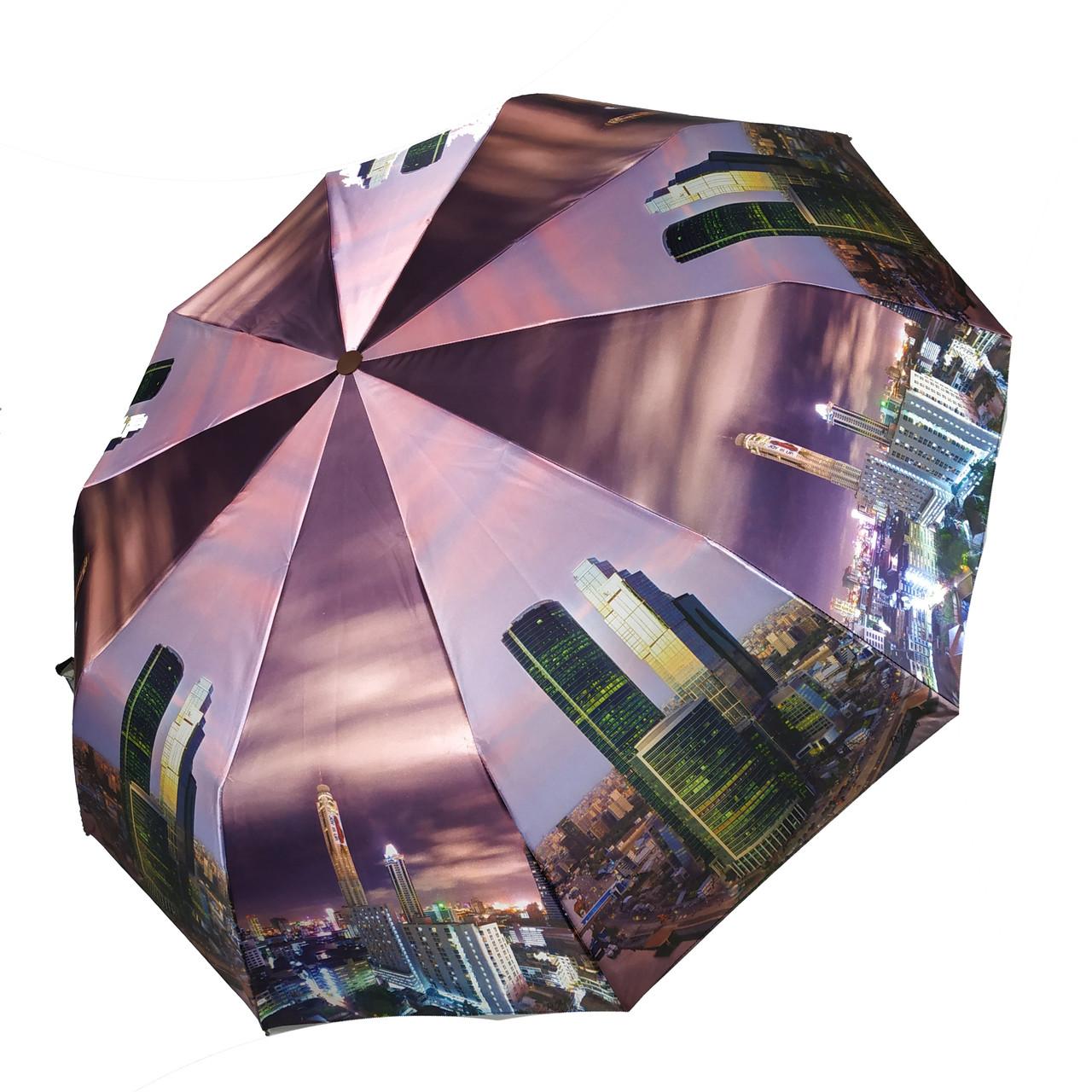 """Жіночий парасольку автомат ZICCO, """"Cities"""", принт з містами, 2230-2"""
