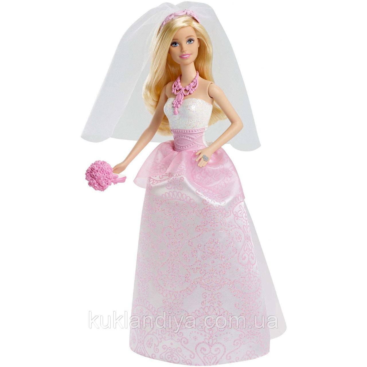 Кукла Barbie Невеста в бело-розовом платье с букетом