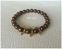 Браслет женский золотистый из натуральных камней из гематита BD1705