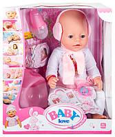 Кукла пупс BL010B-S аналог Baby Born в берушах (соска не магнитная)