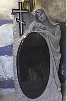 Ексклюзивний пам'ятник овал з ангелом на могилу та хрест із граніту.