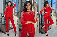 Женский стильный брючный костюм 3-ка №2004 (р.42-46) красный, фото 1