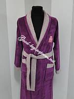 Женский велюровый халат с воротником Ramel бамбук Турция