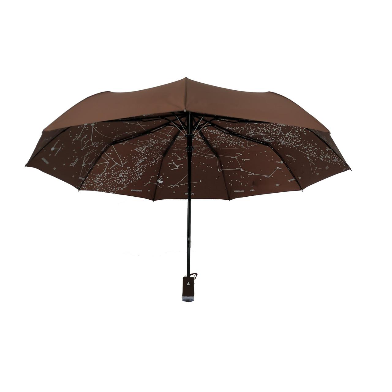 """Женский зонт-полуавтомат Flagman """"Звездное небо"""", темно-коричневый, 711-4"""