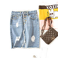 Юбка женская джинсовая с потертостями на пуговицах Dimera р-ры 42, 44