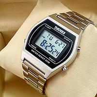 Легендарные мужские кварцевые (электронные) наручные часы Skmei 1328 Old School Design, серебристого цвета