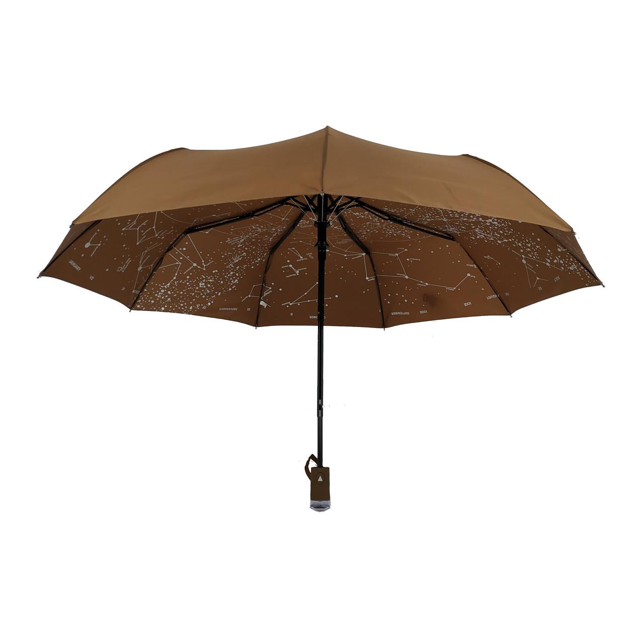 """Жіночий парасольку-напівавтомат Flagman """"Зоряне небо"""", коричневий, 711-8"""