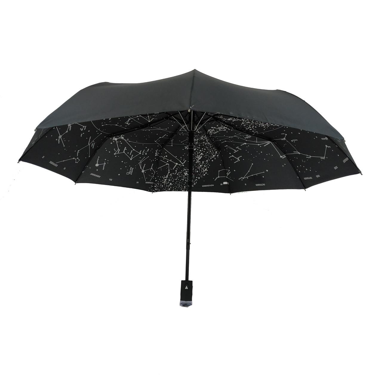 """Жіночий парасольку-напівавтомат Flagman,""""Зоряне небо"""" чорний, 711-9"""