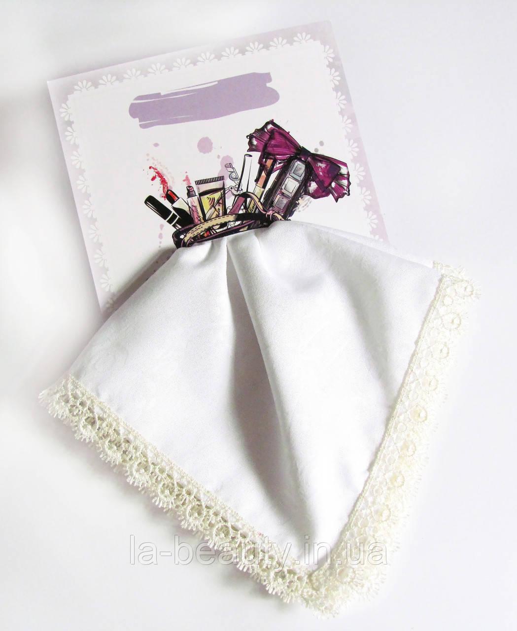 Подарочный женский носовой платок с Вашим текстом белый с кружевом