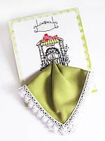 Носовой платок с Вашим текстом Приглашение в ресторан оливковый с кружевом