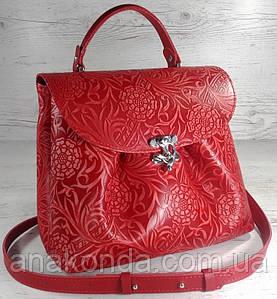 552 Натуральная кожа, Сумка женская, красная с тиснением флора Кожаная сумка на поворотном замке