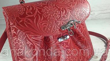 552 Натуральная кожа, Сумка женская, красная с тиснением флора Кожаная сумка на поворотном замке, фото 3