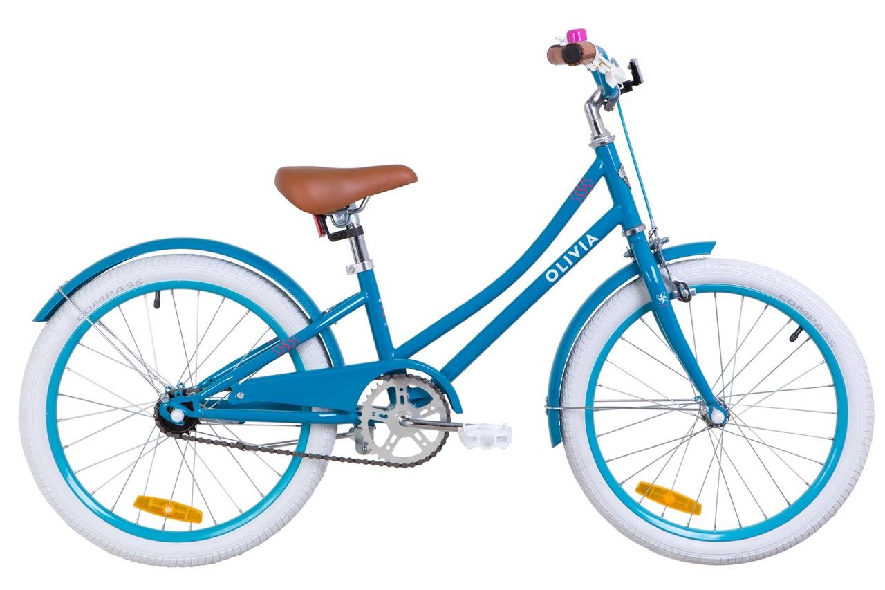"""Велосипед 20"""" Dorozhnik OLIVIA 14G St с крылом St 2019 (бирюзовый)"""