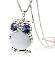 """Модная подвеска украшение """"Сова"""", кулон - оформление синие кристаллы и белый опал, фото 1"""