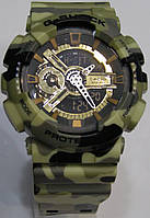Мужские кварцевые наручные часы Casio G-Shock GA100 GB Military, хаки, фото 1