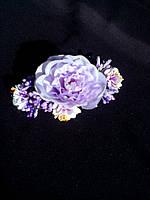 Гребень пластиковый из сиреневых цветов
