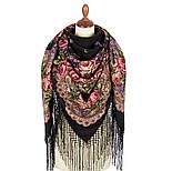 Сиреневый туман 983-19, павлопосадский платок (шаль) из уплотненной шерсти с шелковой вязанной бахромой, фото 2