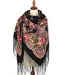 Сиреневый туман 983-19, павлопосадский платок (шаль) из уплотненной шерсти с шелковой вязанной бахромой, фото 3