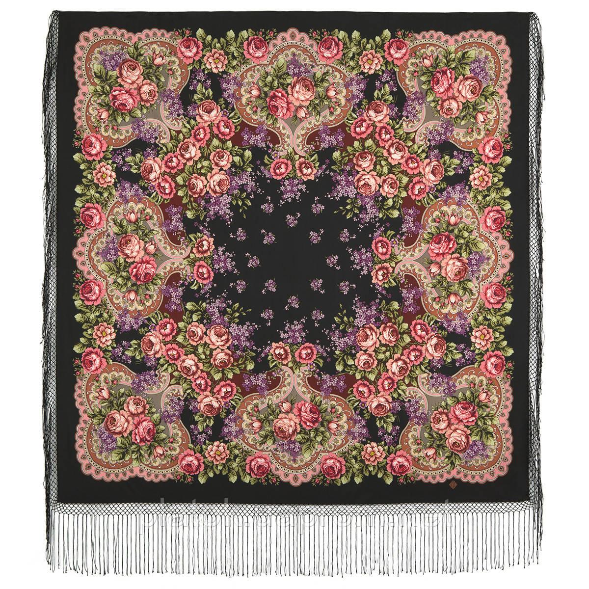 Сиреневый туман 983-19, павлопосадский платок (шаль) из уплотненной шерсти с шелковой вязанной бахромой