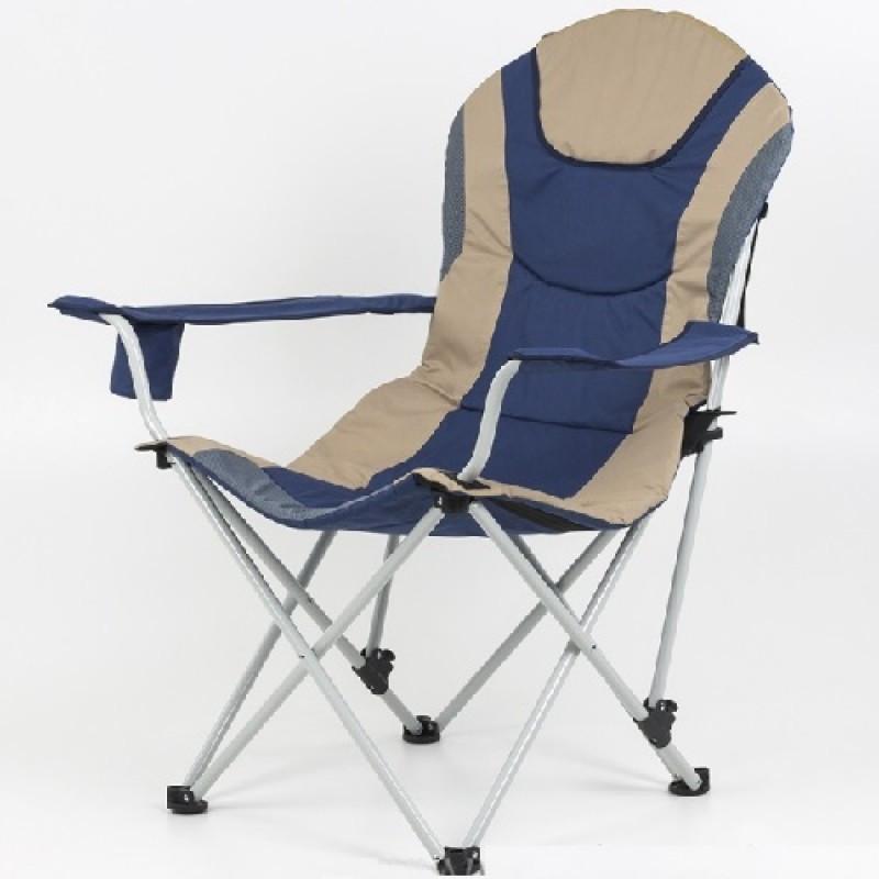 """Складное кресло с подстаканником """"Директор Майка"""" бежево-синее, VT211075"""