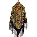 Печатный пряник 356-18, павлопосадский платок (шаль) из уплотненной шерсти с шелковой вязанной бахромой, фото 3