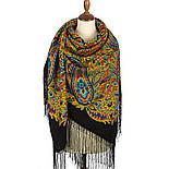 Печатный пряник 356-18, павлопосадский платок (шаль) из уплотненной шерсти с шелковой вязанной бахромой, фото 2