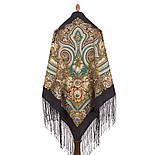 Боярыня 334-25, павлопосадский платок (шаль) из уплотненной шерсти с шелковой вязанной бахромой, фото 2
