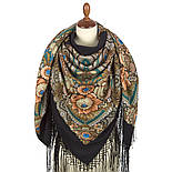Боярыня 334-25, павлопосадский платок (шаль) из уплотненной шерсти с шелковой вязанной бахромой, фото 3