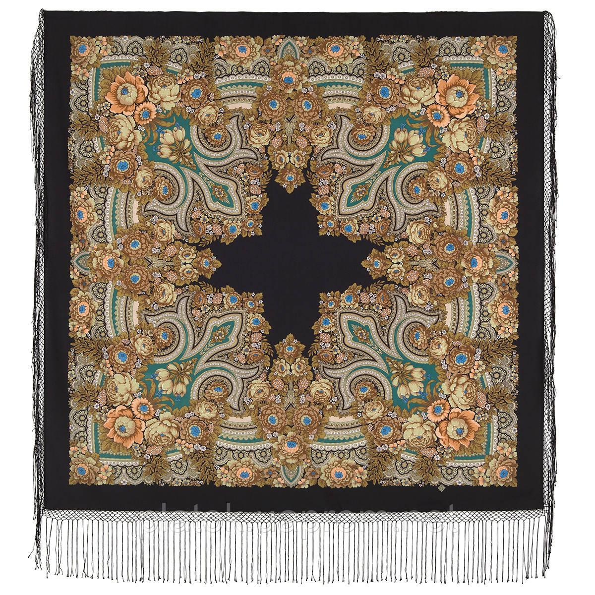 Боярыня 334-25, павлопосадский платок (шаль) из уплотненной шерсти с шелковой вязанной бахромой