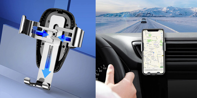 Автодержатель для телефона с беспроводной зарядкой Baseus Metal Gravity Car Mount Black WXYL-B0A Черный
