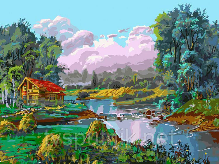 Картина по номерам Белоснежка «Стога у реки»