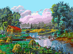 Картина по номерам Белоснежка «Стога у реки», фото 2