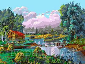 Картина по номерам Белоснежка «Стога у реки», фото 3
