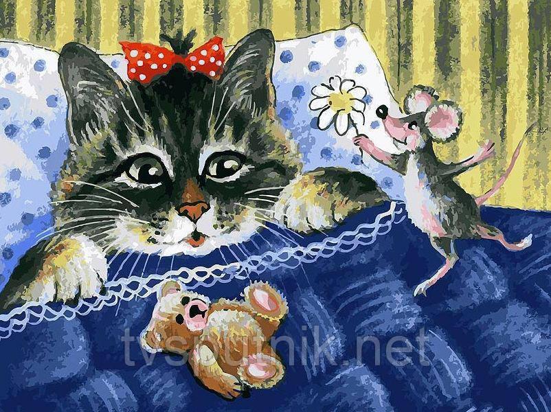 """Картина за номерами """"Кіт і мишка"""""""