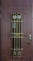 """Входная металлическая дверь с ковкой и стеклом для улицы """"Портала"""" (Элит Vinorit) ― модель Ковка 25, фото 1"""