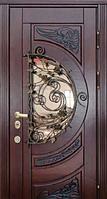 """Стальная дверь с ковкой и стеклом """"Портала"""" (серия PatinaElit) ― модель M-8 Vinorit, фото 1"""