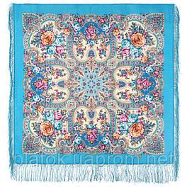 Аврора 1841-13, павлопосадский платок шерстяной  с шелковой бахромой