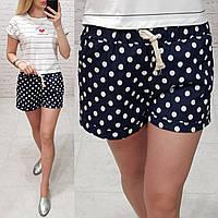 Женские шорты короткие узор горошек ткань катон Турция длина 30 см цвет черный, фото 1