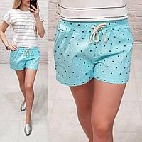 Женские шорты короткие узор горошек ткань катон Турция длина 30 см цвет голубой, фото 1