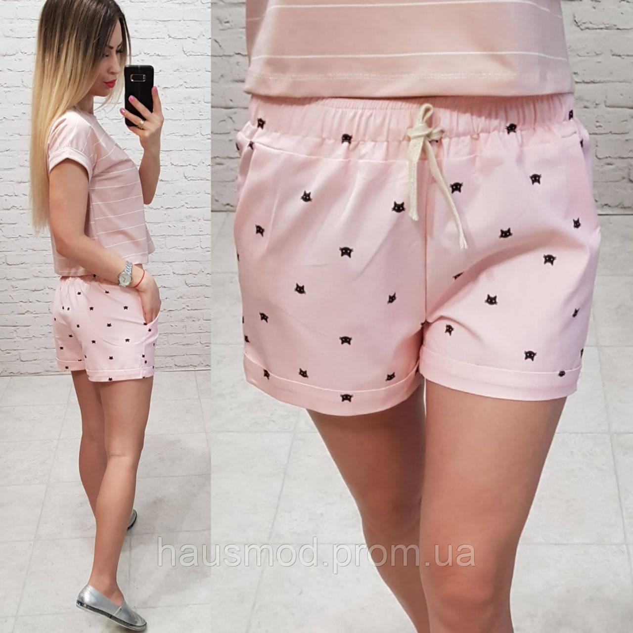 Женские шорты короткие узор котики ткань катон Турция размер Универсал 42-46 рр. длина 30 см цвет розовый, фото 1
