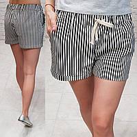 Женские шорты короткие узор полоска ткань катон Турция длина 30 см цвет черный, фото 1