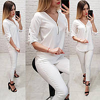 Женская блуза на молнии рукав 3/4 ткань софт цвет белый, фото 1
