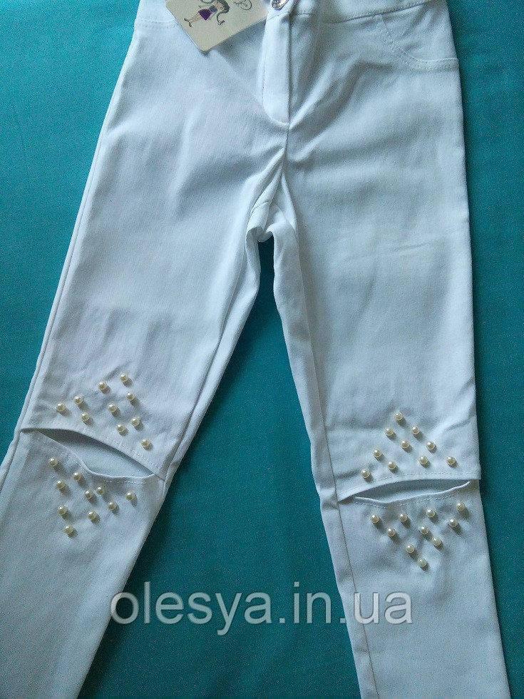 Леггинсы модные для девочки Динара Размеры 116- 158 Белый цвет