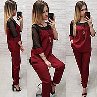 Женский костюм брючный ткань креп костюмка Турция подвеска в комплекте цвет бордовый, фото 1