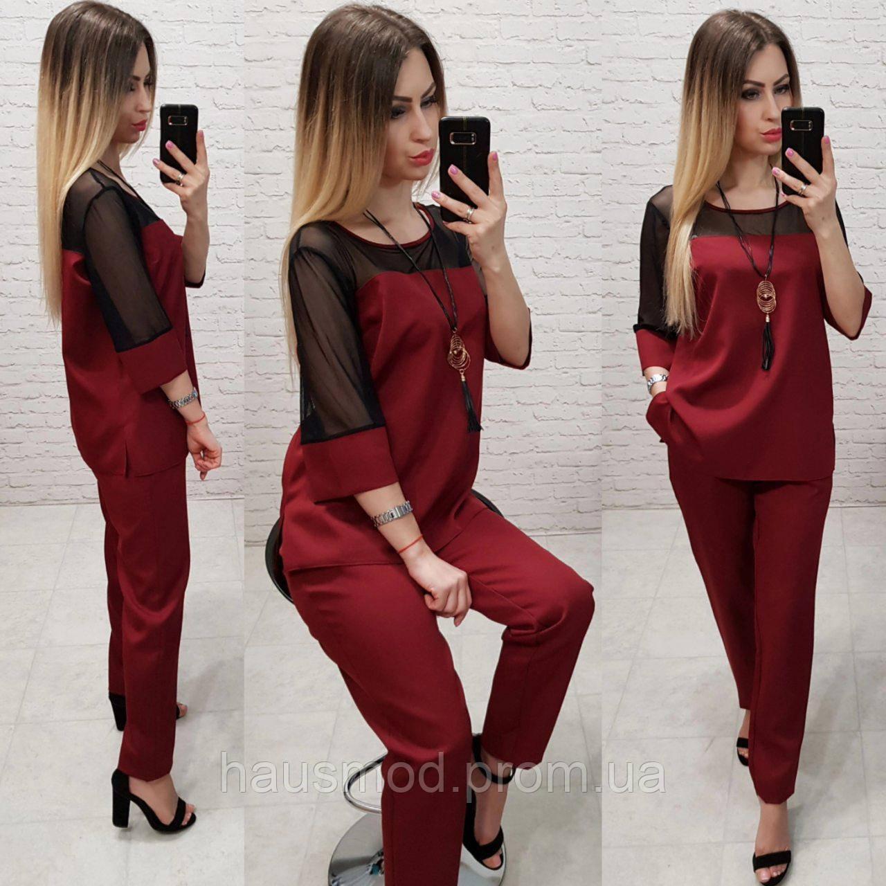 Женский костюм брючный ткань креп костюмка Турция подвеска в комплекте цвет бордовый