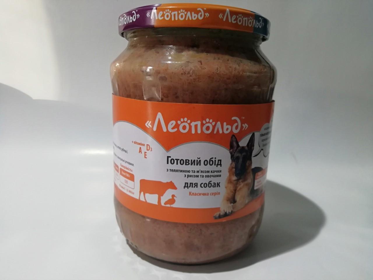 Вологий корм Леопольд Готовий обід для собак з телятиною, качкою та овочами 720 г