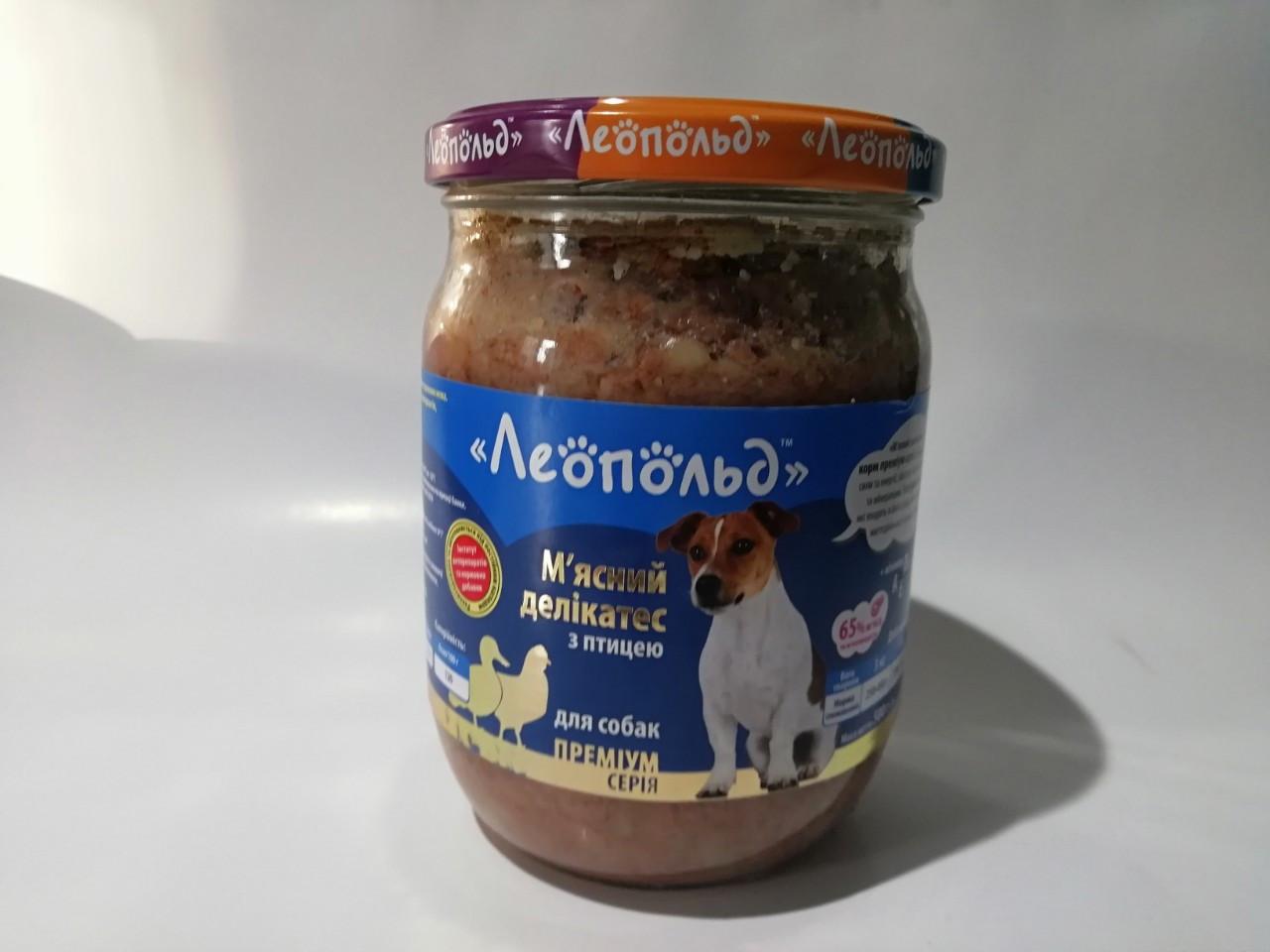 Вологий корм Леопольд М'ясний делікатес для собак з птахом 500 г