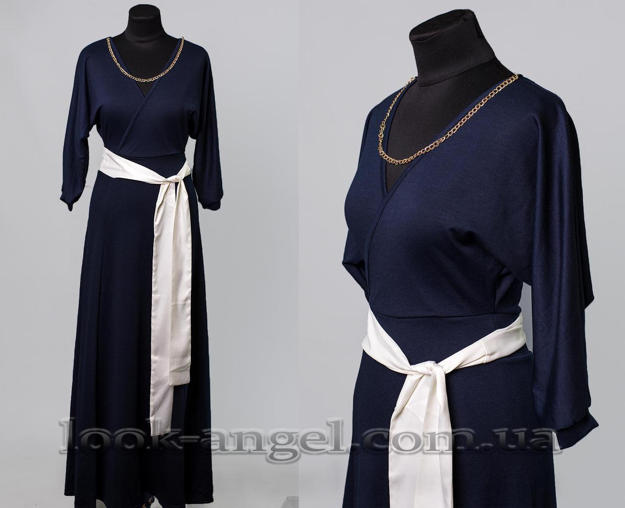 """Элегантное женское платье ткань """"Французский трикотаж"""" пояс в комплекте 44 размер норма"""